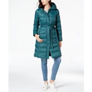 COLE HAAN Hooded Belted Lightweight Coat